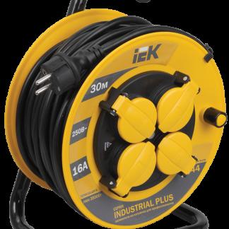 Катушка УК30 с термозащитой 4 места 2Р+PЕ/30м 3х1,5мм2 IP44 Industrial plus IEK