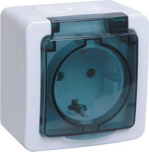 Розетка 2-местная для открытой установки РСб22-3-ГПБд с заземляющим контактом IP54 ГЕРМЕС PLUS (цвет крышки: дымчатый) IEK