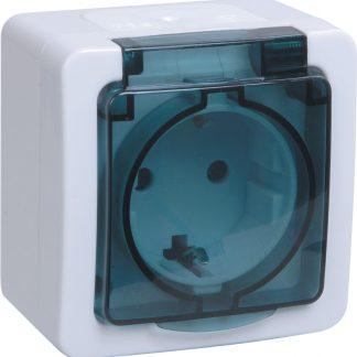 Розетка 1-местная для открытой установки РСб20-3-ГПБд с заземляющим контактом IP54 ГЕРМЕС PLUS (цвет крышки:дымчатый) IEK