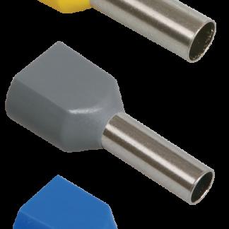Наконечник-гильза НГИ2 2,5-12 с изолированным фланцем (синий) (100шт) IEK