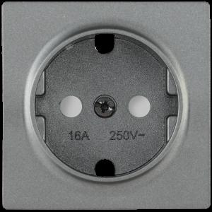 Накладка розетка НР-2-1-БА с заземляющим контактом с защитной шторкой BOLERO антрацит IEK