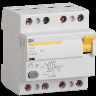 Выключатель дифференциальный (УЗО) ВД1-63 4Р 25А 30мА тип А IEK