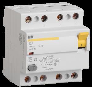 Выключатель дифференциальный (УЗО) ВД1-63 4Р 32А 30мА тип А IEK