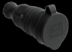 Розетка переносная РБп13-1-0м с защитной крышкой IP44 ОМЕГА IEK