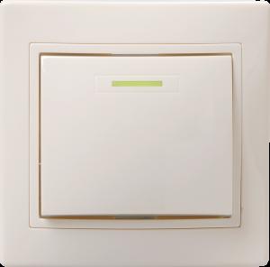 Выключатель 1-клавишный с индикацией ВС10-1-1-ККм 10А КВАРТА кремовый IEK