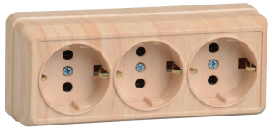 Розетка 3-местная для открытой установки РС23-3-ОС с заземляющим контактом 16А ОКТАВА сосна IEK