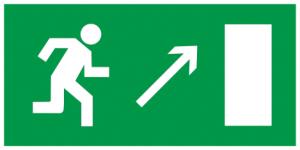 """Самоклеящаяся этикетка 200х100мм """"Направление к эвакуационному выходу направо вверх"""" IEK"""