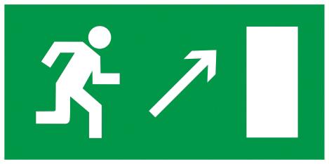 """Самоклеящаяся этикетка 100х50мм """"Направление к эвакуационному выходу направо вверх"""" IEK"""