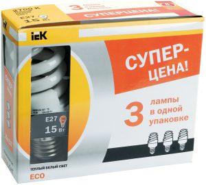 Лампа энергосберегающая КЭЛP-FS спираль Е27 15Вт 2700К (ПРОМОПАК 3шт) IEK-eco