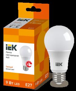 Лампа светодиодная ECO A60 шар 9Вт 230В 3000К E27 IEK