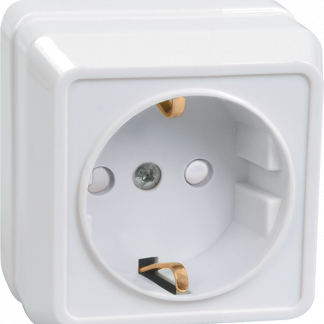 Розетка 1-местная для открытой установки РСш20-3-ОКм с заземляющим контактом с защитной шторкой 16А ОКТАВА кремовый IEK