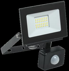 Прожектор светодиодный СДО 06-20Д с датчиком движения IP54 6500K черный IEK