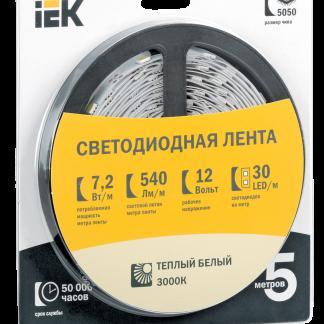 Лента светодиодная 5м блистер LSR-3528W-WW120-9,6-IP20-12V IEK