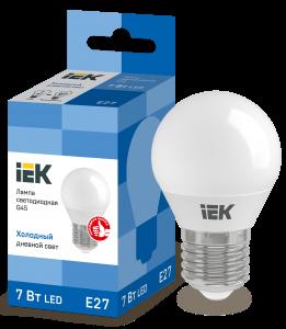 Лампа светодиодная ECO G45 шар 7Вт 230В 6500К E27 IEK
