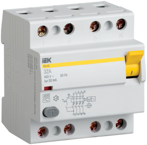 Выключатель дифференциальный (УЗО) ВД1-63 4Р 16А 30мА IEK