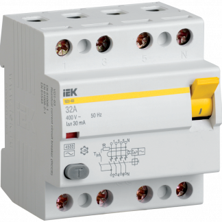 Выключатель дифференциальный (УЗО) ВД1-63 4Р 16А 300мА IEK