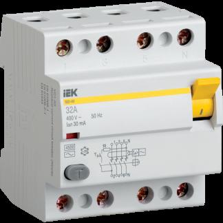 Выключатель дифференциальный (УЗО) ВД1-63 4Р 32А 30мА IEK