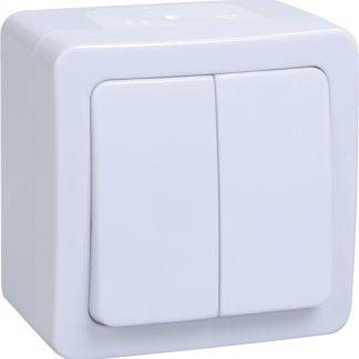 Выключатель 2-клавишный для открытой установки ВС20-2-0-ГПБ IP54 ГЕРМЕС PLUS (цвет клавиши: белый) IEK