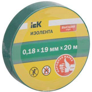 Изолента 0,18х19мм зеленая 20м IEK