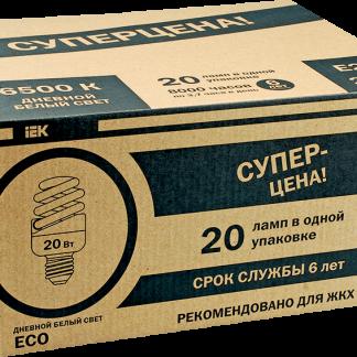 Лампа энергосберегающая КЭЛP-FS спираль Е27 20Вт 4000К (ЖКХПАК 20шт) IEK-eco