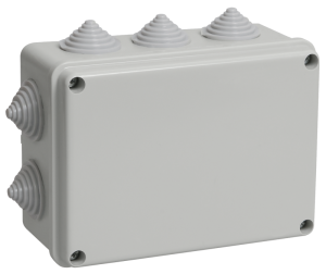 Коробка распаячная КМ41241 для о/п 150х110х70мм IP44 (RAL7035, 10 гермовводов) IEK