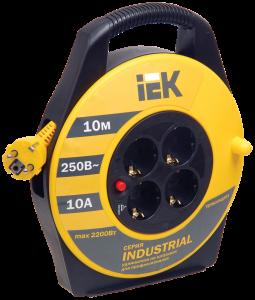 Катушка УК10 с термозащитой 4 места 2Р+PЕ/10м 3х1,5мм2 Industrial IEK