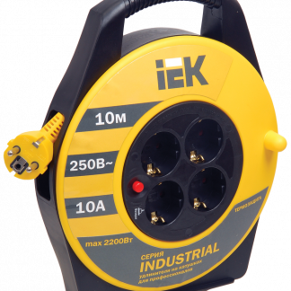 Катушка УК10 с термозащитой 4 места 2Р+PЕ/10м 3х1,0мм2 Industrial IEK