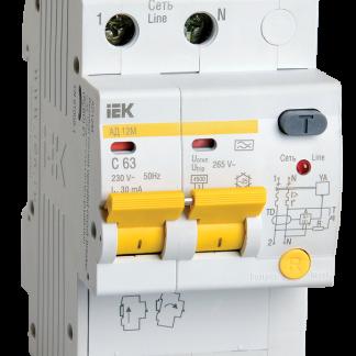 Дифференциальный автоматический выключатель АД12М 2Р С20 30мА IEK