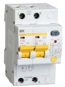 Дифференциальный автоматический выключатель АД12М 2Р С50 30мА IEK