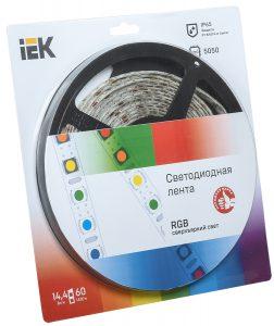 Лента светодиодная 5м блистер LSR-5050RGB60-14,4-IP65-12V IEK