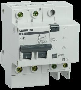 Дифференциальный автоматический выключатель АД12 2Р 40А 100мА GENERICA