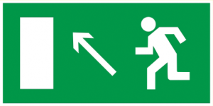 """Самоклеящаяся этикетка 200х100мм """"Направление к эвакуационному выходу налево вверх"""" IEK"""