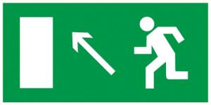 """Самоклеящаяся этикетка 100х50мм """"Направление к эвакуационному выходу налево вверх"""" IEK"""