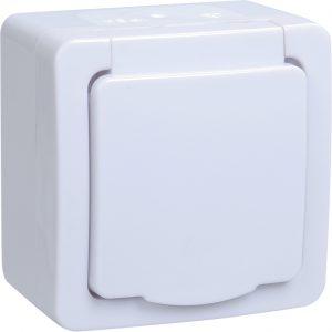 Розетка 2-местная для открытой установки РСб22-3-ГПБб с заземляющим контактом IP54 ГЕРМЕС PLUS (цвет крышки:белый) IEK