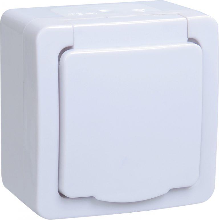 Розетка 1-местная для открытой установки РСб20-3-ГПБб с заземляющим контактом IP54 ГЕРМЕС PLUS (цвет крышки:белый) IEK