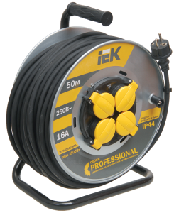 Катушка УК50 на мет. с термозащитой 4 места 2Р+PЕ/50м КГ 3х2,5мм2 IP44 Professional IEK