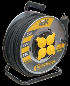 Катушка УК50 на мет. с термозащитой 4 места 2Р+PЕ/50м КГ 3х1,5мм2 IP44 Professional IEK