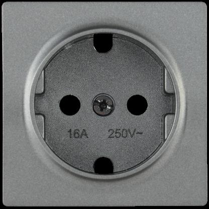Накладка розетка НР-1-1-БА с заземляющим контактом BOLERO антрацит IEK
