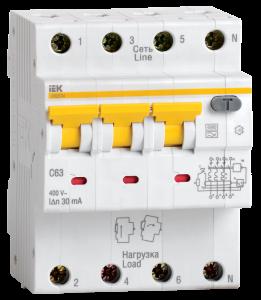 Автоматический выключатель дифференциального тока АВДТ34 C50 30мА IEK