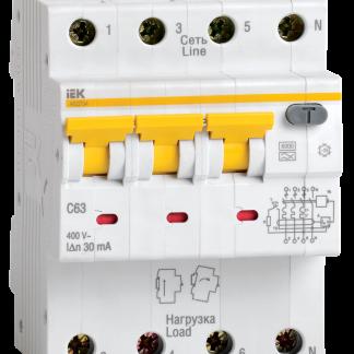Автоматический выключатель дифференциального тока АВДТ34 C63 300мА IEK