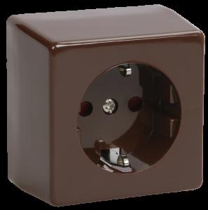 Розетка 1-местная для открытой установки РС20-3-БК с заземляющим контактом БРИКС коричневый IEK
