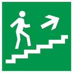 """Самоклеящаяся этикетка 150х150мм """"Направление к эвакуационному выходу (по лестнице направо вверх)"""" IEK"""