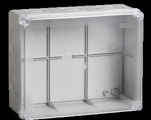 Коробка распаячная КМ41275 для о/п 240х195х90мм IP44 (RAL7035, прозрачная крышка, кабельные вводы 5шт) IEK