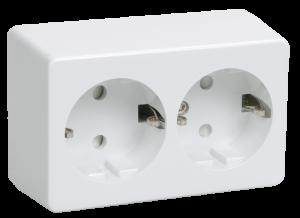 Розетка 2-местная для открытой установки РС22-3-ББ с заземляющим контактом БРИКС белый IEK