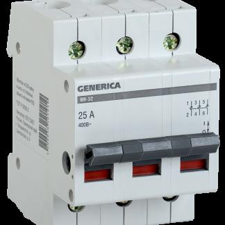 Выключатель нагрузки (мини-рубильник) ВН-32 3Р 40А GENERICA