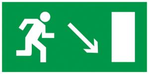 """Самоклеящаяся этикетка 200х100мм """"Направление к эвакуационному выходу направо вниз"""" IEK"""