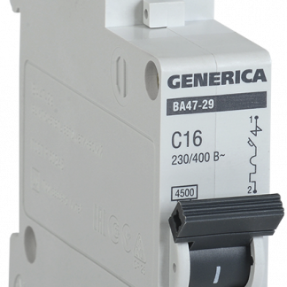 Автоматический выключатель ВА47-29 1Р 6А 4,5кА х-ка С GENERICA