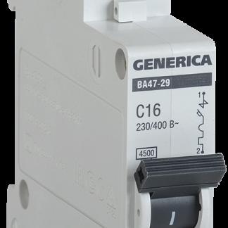 Автоматический выключатель ВА47-29 1Р 63А 4,5кА х-ка С GENERICA