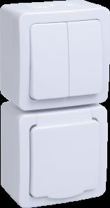 Блок вертикальный для открытой установки БВб-22-32-ГПБб (Выключатель 2-клавишный + розетка 1-местная с заземляющим контактом) IP54 ГЕРМЕС PLUS (белый/белый) IEK
