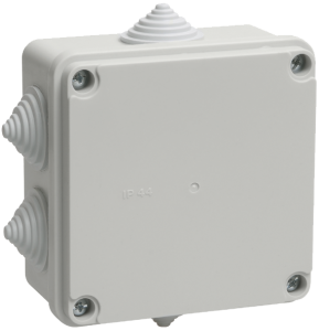 Коробка распаячная КМ41234 для о/п 100х100х50мм IP55 (RAL7035, 6 гермовводов) IEK